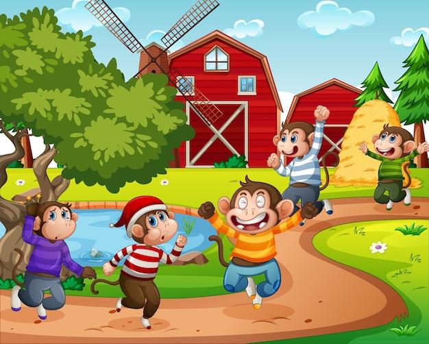 農場のシーンでジャンプする5匹の小猿