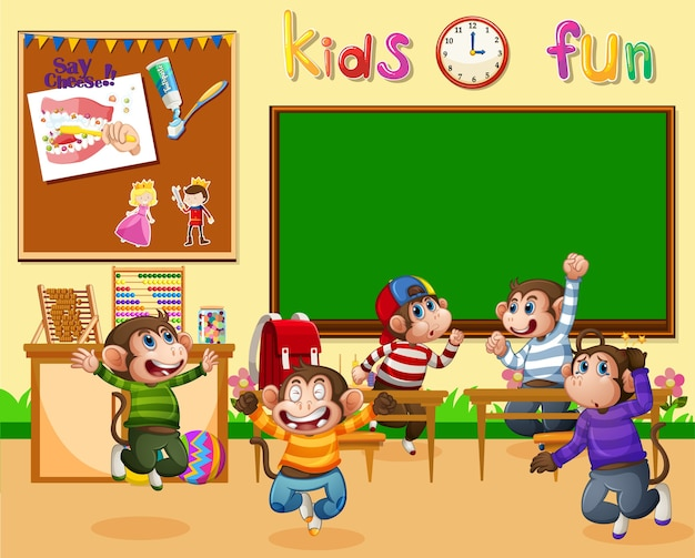 Five little monkeys jumping in the classroom