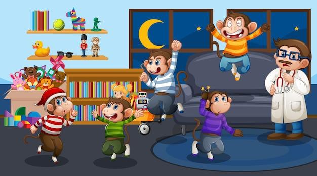 Пять маленьких обезьянок прыгают в гостиной с доктором