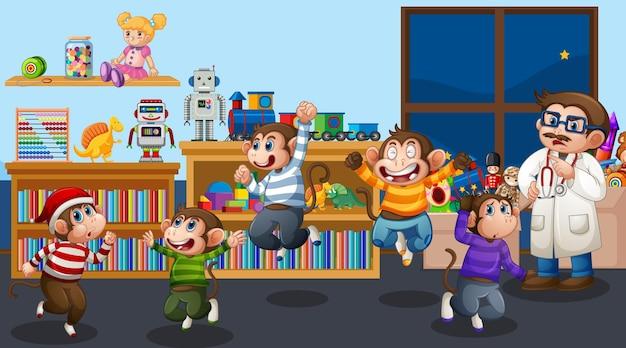 의사와 함께 거실에서 점프하는 다섯 마리의 작은 원숭이