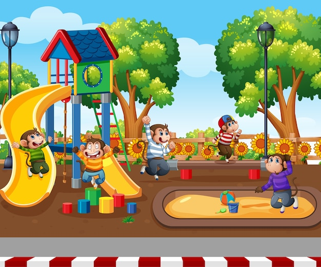 Five little monkeys jumping in the park playground scene