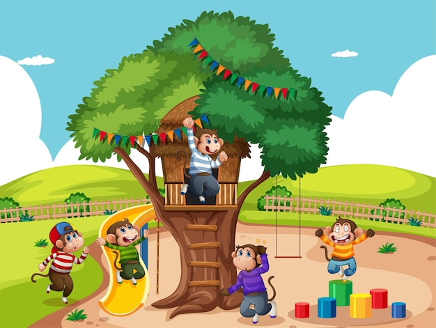 Five little monkeys jumping in the park playground scene