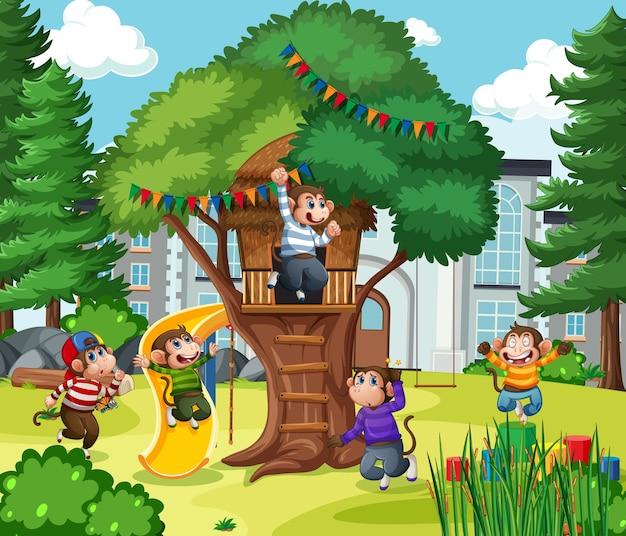 Five little monkeys jumping in the park scene