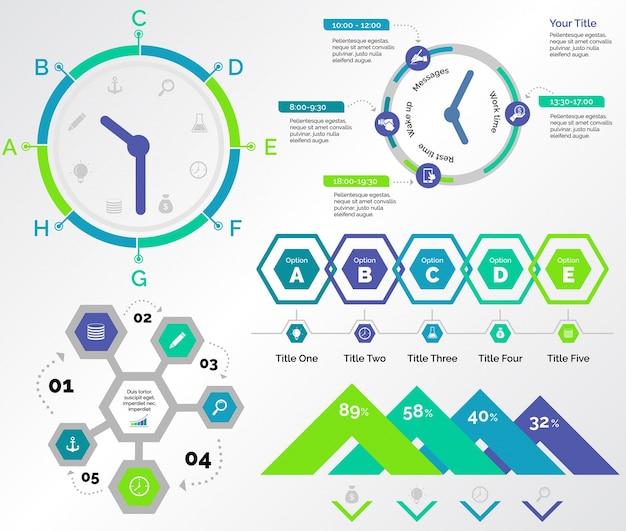 Cinque set di modelli di logistica