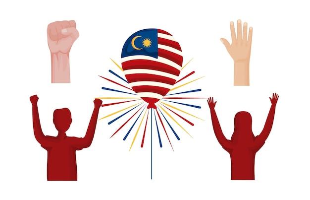 Five malaysia celebration set icons