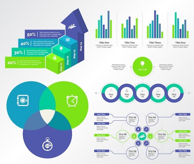 Five marketing charts templates set