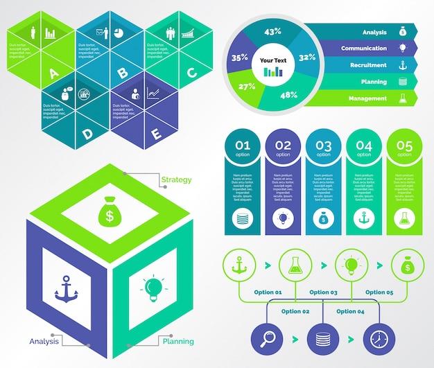 Cinque set di modelli di marketing