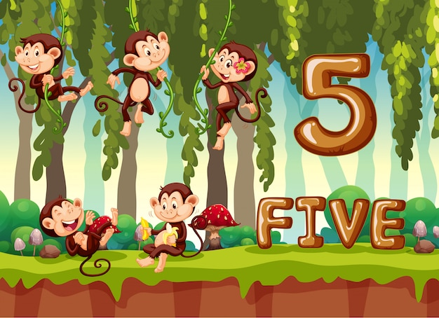 Five monkey in the jungle