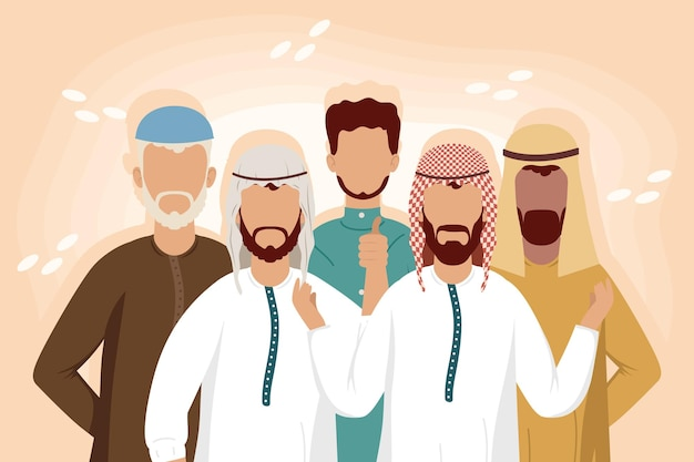 Five muslim community men group