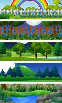 木々のある5つの自然の風景