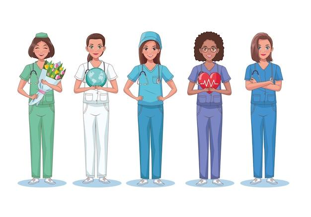 Five nurces characters