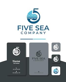 Пять океан логотип дизайн вектор номер морской воды