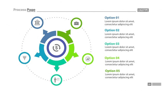 Cinque modelli di diapositiva grafico a cerchio opzionale