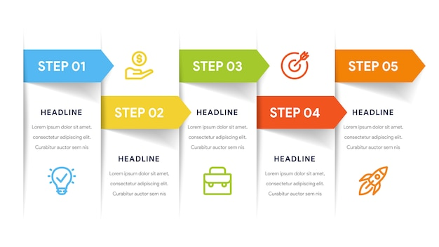 Five options infographics for steps, timeline, workflow