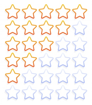 5 outline stars rating icon set vector 스톡 일러스트