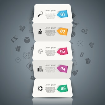 Five paper business origami infographic