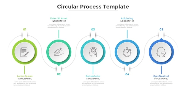 Five paper white circular elements arranged in horizontal. concept of 5 steps project progress and development. clean infographic design template. stylish vector illustration for progress bar.