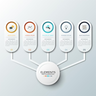 Five paper white rounded elements with flat symbols and place for text inside connected to circle in center. concept of 5 features of startup project. infographic design layout.