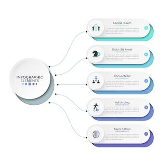 5개의 종이 흰색 둥근 옵션 또는 기본 원형 요소에 선으로 연결된 특성. 깨끗한 인포그래픽 디자인 템플릿입니다. 5개 프로젝트 단계의 도식적 시각화를 위한 벡터 그림입니다.