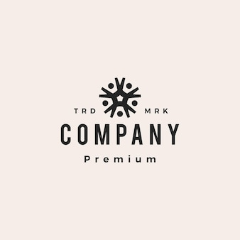 Five people family group 5 team together hipster vintage logo vector icon illustration