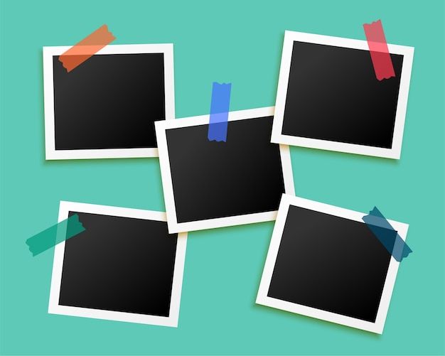 Five photo frames sticked by tape background
