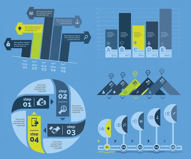 Five planning charts templates set