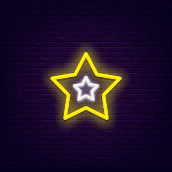 Five point star light, bright neon gin