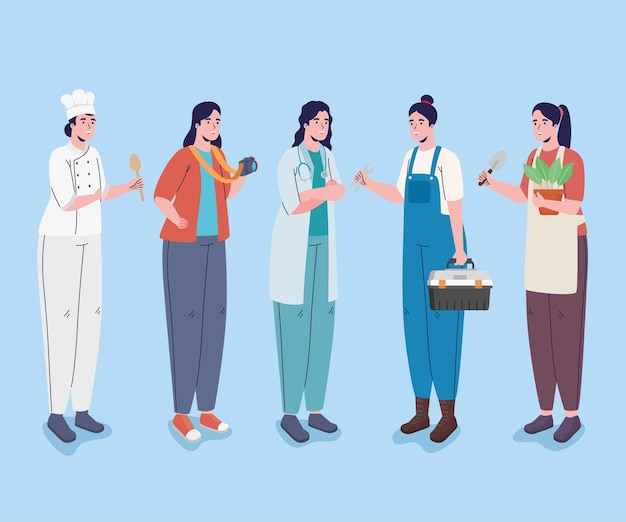Five professions workers characters