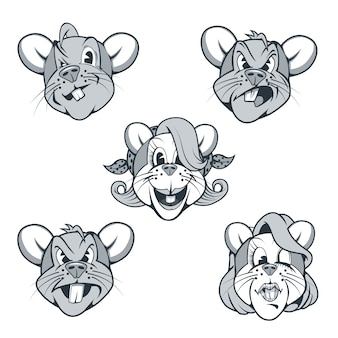 Пять крысиных персонажей в мультяшном стиле с разными выражениями лица.