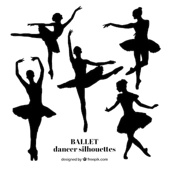 Five realistic ballet dancer silhouettes