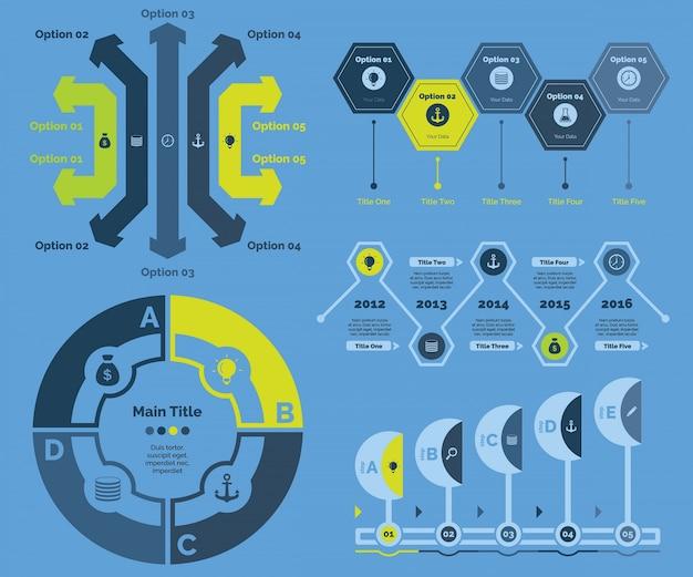 Five recruitment diagrams templates set