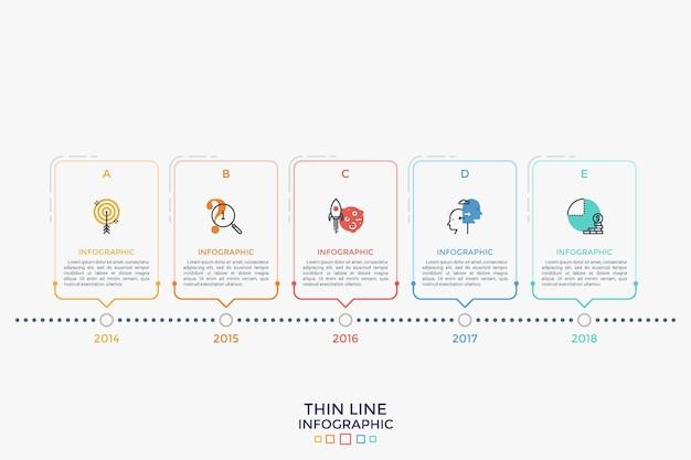 細い線の記号が付いた5つの長方形の要素と、水平方向のタイムラインに配置された内部のテキストの配置。年間事業進捗チャート。線形インフォグラフィックデザインテンプレート。ベクトルイラスト。