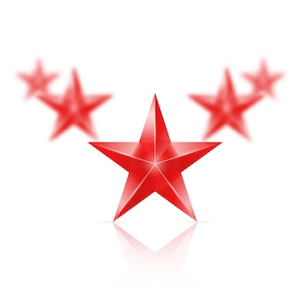 Five red stars on white background - the first one in focus, the others blurry.