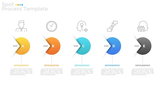 5つの丸い要素、細い線のアイコン、テキストボックスが横一列に配置され、矢印で接続されています。開発戦略の5つのステップの概念。インフォグラフィックデザインテンプレート。ベクトルイラスト。
