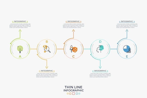 Five round elements with thin line icons inside placed in horizontal row and connected by arrows. concept of 5 successive steps of development process. infographic design layout. vector illustration.