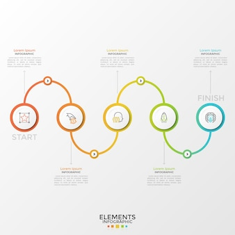 Five round paper white elements with linear symbols inside connected by gradient colored curved line. concept of 5 steps of business process. modern infographic design template. vector illustration.