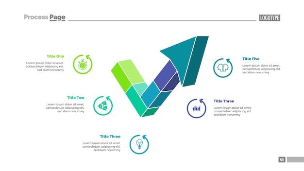 Five segment arrow slide template