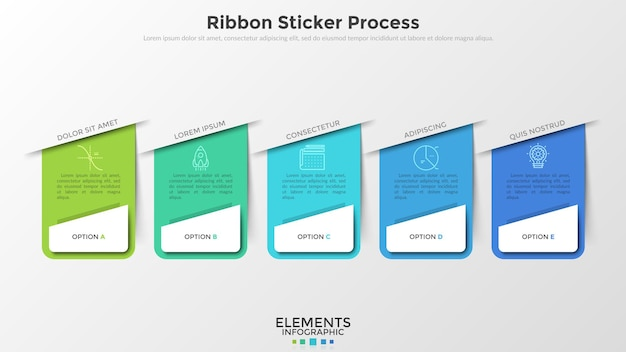 Five separate colorful rectangular elements with linear icons and place for text inside. concept of web drop-down menu with 5 options. infographic design template. vector illustration for website.