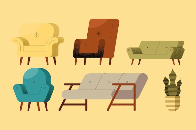 Five sofas and houseplant set icons