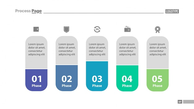 Five stages workflow slide template