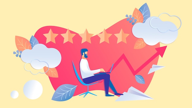 Five star rank, evaluation flat color illustration