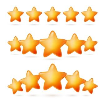 별 5개 평가 좋은 리뷰 성공 평가 만화 세트. 흰색으로 격리된 경험, 서비스 및 평판 벡터 일러스트레이션에 대한 긍정적인 피드백 및 의견, 우수한 결과 또는 상