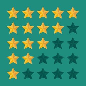 5つ星の評価アイコン。満足度のフィードバック。