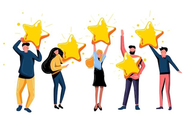 별 다섯 개 평가 긍정적인 피드백과 높은 평가 수준. 긍정적인 피드백과 좋은 리뷰, 지원 제품 또는 서비스 벡터 일러스트레이션을 제공하는 5개의 골드 스타를 들고 행복한 만족한 사람들
