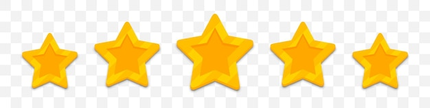 Five stars customer rating review in a flat design