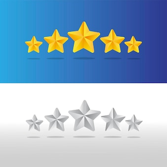 Five stars gold and silver illustration