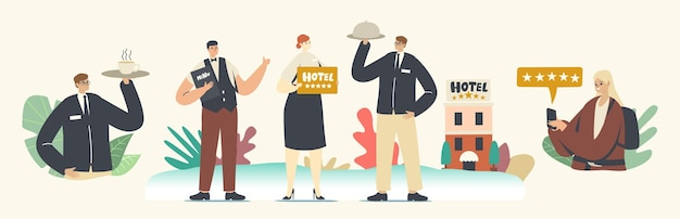 Five stars hotel, hospitality service concept. staff characters receptionist, waiter with menu and cloche lid on tray meeting tourists in top quality luxury hotel. cartoon people vector illustration