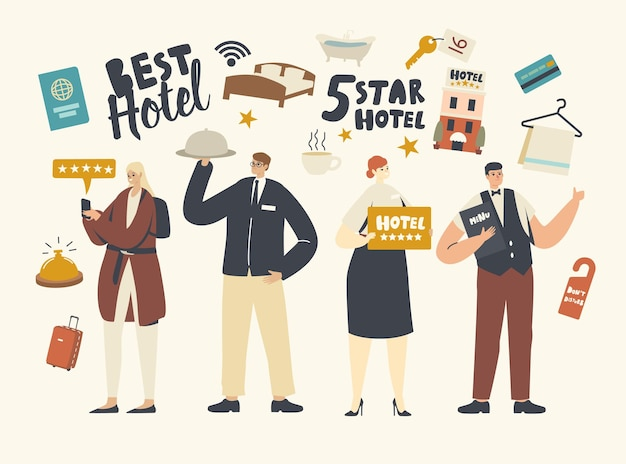 Five stars hotel service concept. hospitality staff characters meeting tourists in top quality luxury hotel. receptionist, waiter with menu and cloche lid on tray. cartoon people vector illustration