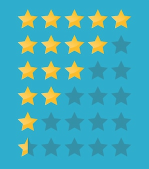 Five stars icon isolated on blue