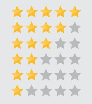 웹 사이트 및 모바일 앱에 대한 흰색 배경 별 등급 아이콘에 고립 된 5 개의 별 아이콘